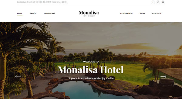 Monalisa - Hotel & Resort Management WordPress Theme