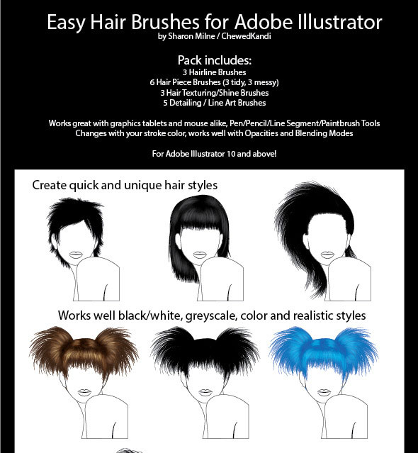 Easy Hair Brushes for Adobe Illustrator