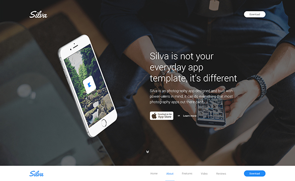 Silva — Beautiful App PSD Template
