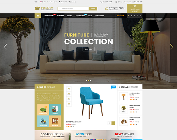 Furnicom - Multipurpose eCommerce PSD Template