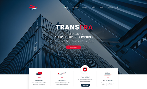 Transera – Transportation & Logistics PSD Template