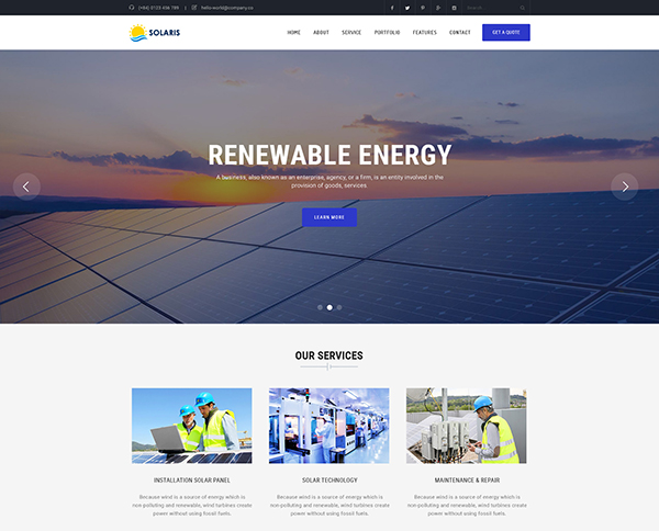 Solaris - Solar Environmental Energy Template