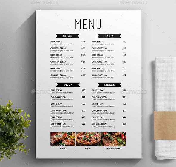 25 awesome typographic restaurant menu templates