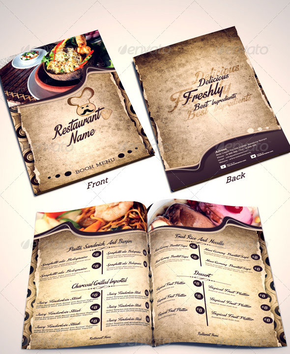 Restaurant Menu Templates Front-2 Middle-Back