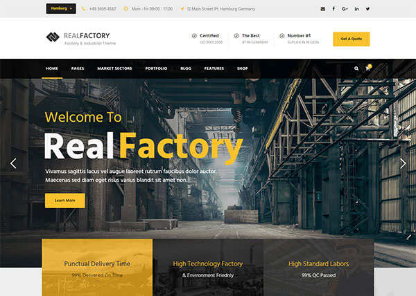 Real Factory - Factory / Industrial / Construction WordPress Theme