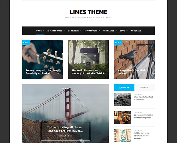 Lines - Elegant Personal / News WordPress Theme