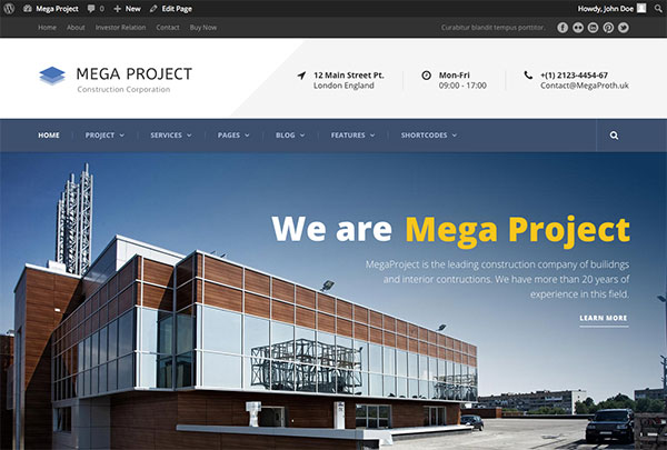 Mega Project - Construction Company WP Theme