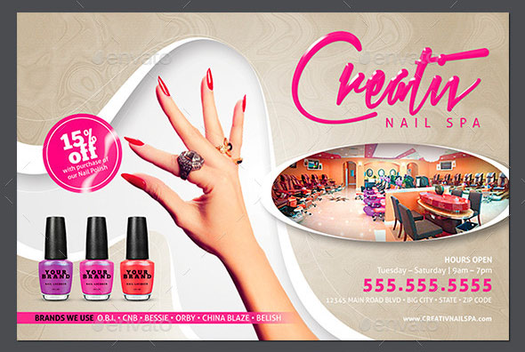 Nail Salon Flyer & Business Card Templates