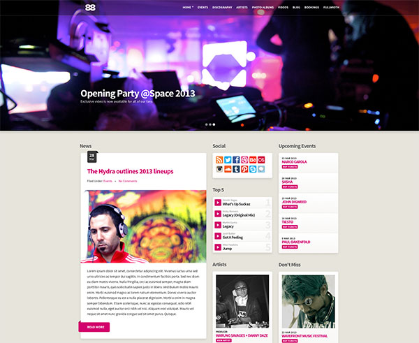 Club88 - Premium Music Site Template