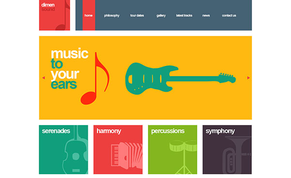 Dimensound | Flat One-Page Music & Band Template