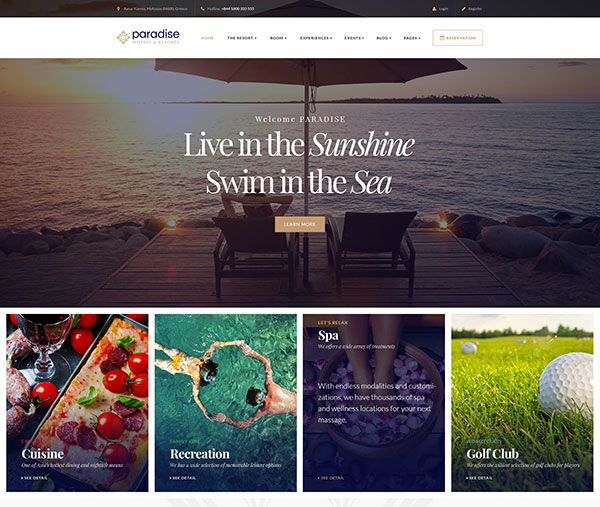 Paradise - Hotels & Resorts Responsive WordPress Theme