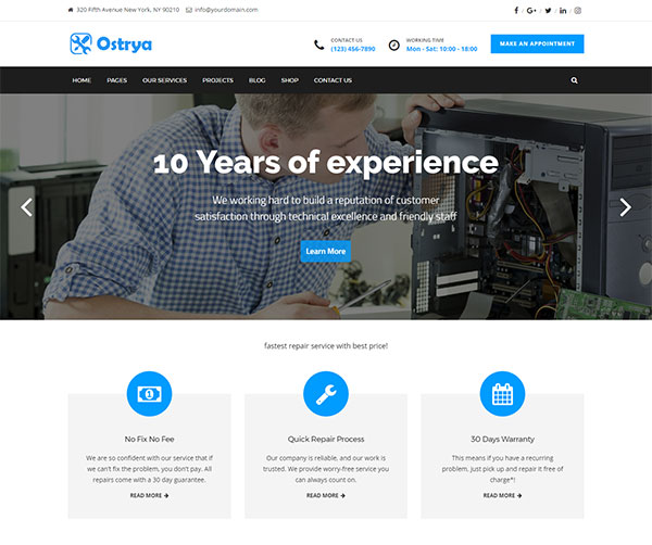 Ostrya - Computer Repair Service WordPress Theme