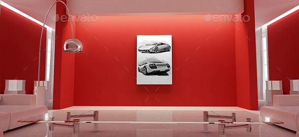 Interior With Poster Mockup