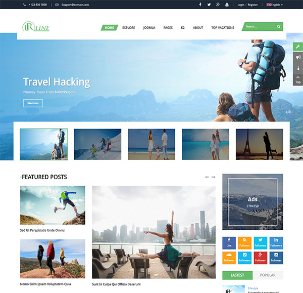 Urline - Responsive Travel News Joomla Template
