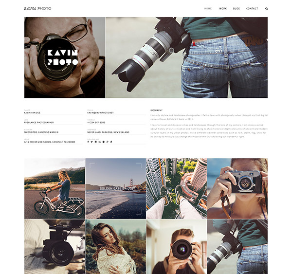 Kavin - Photography Blog Joomla Template