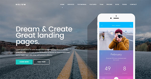 Helium - 10 in 1 Landing Pages Package
