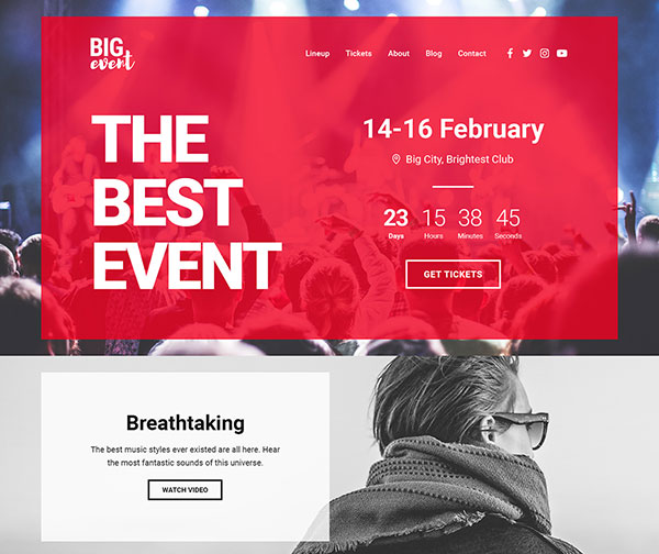 BigEvent Landing Page HTML Template