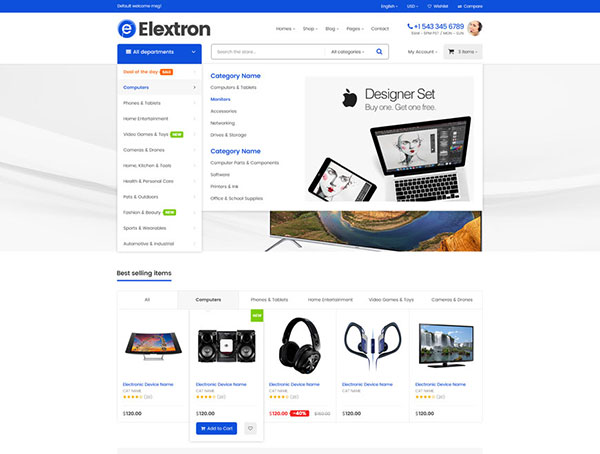 Elextron Supermarket - Electronics & Digital Store, Mobile Shop for Responsive Shopify Theme