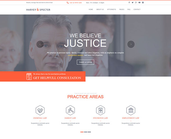 Harvey & Specter | Law Firm Muse Template