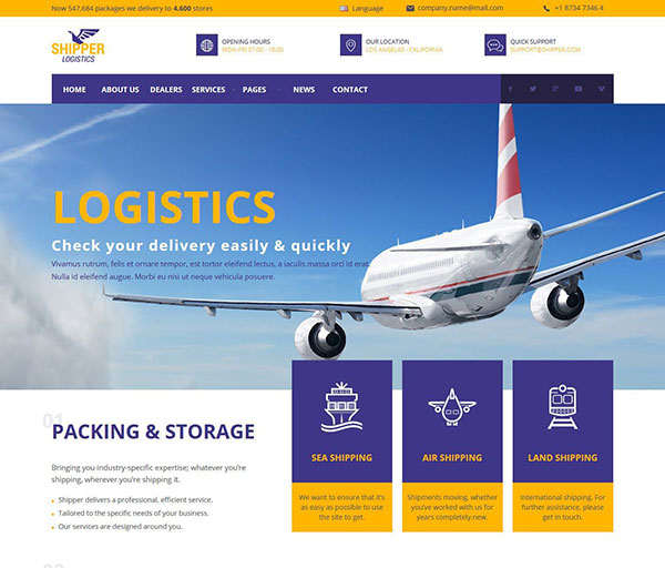 Shipper Logistic - Transportation Muse Template