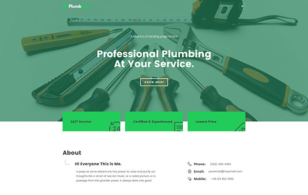Plumbman - Clean Business Theme for Plumbers, Carpenters or Handymen