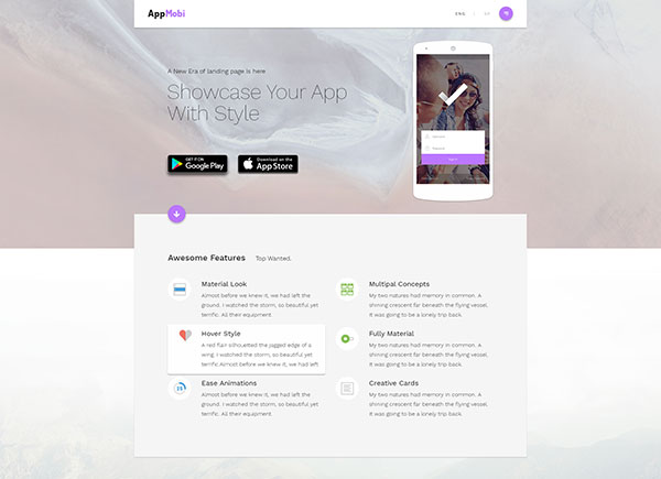 AppMobi-Perfect presentation website/landingpage for your app or software