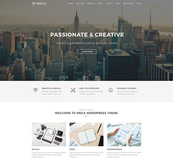 Mega One Page - Creative One Page WordPress Theme