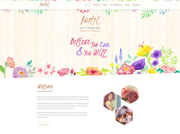 Pastel Floral Art WordPress Blog & Shop