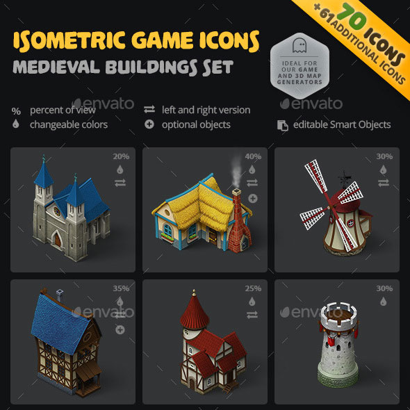 Isometric Game Icons - Medieval Buildings Set