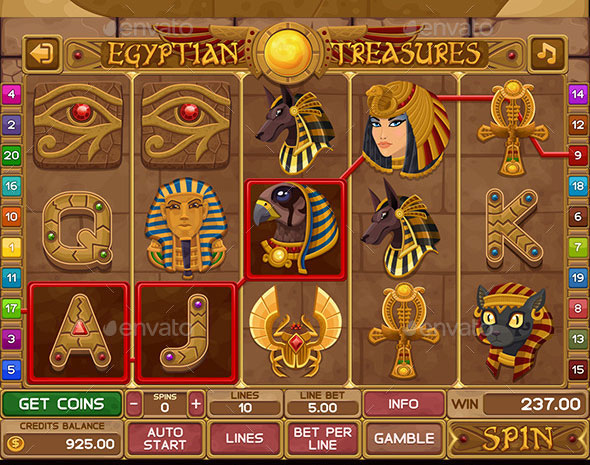 Egyptian treasures slots game