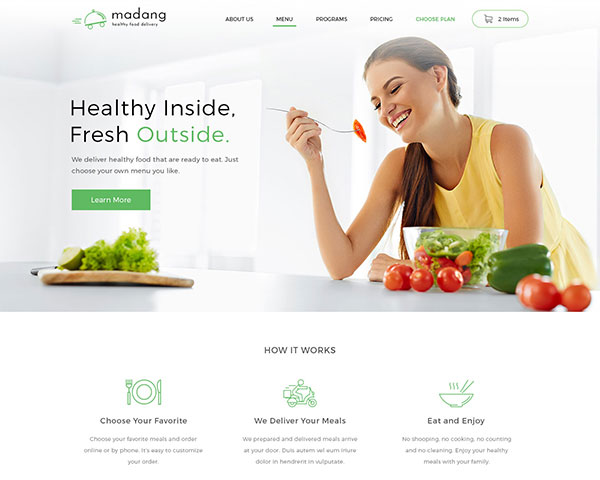 Madang - Healthy Food Delivery PSD Template
