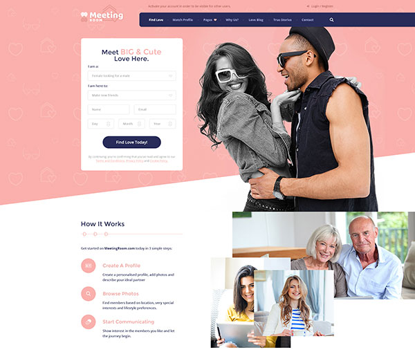 Meeting Room - Social Dating Network PSD Template