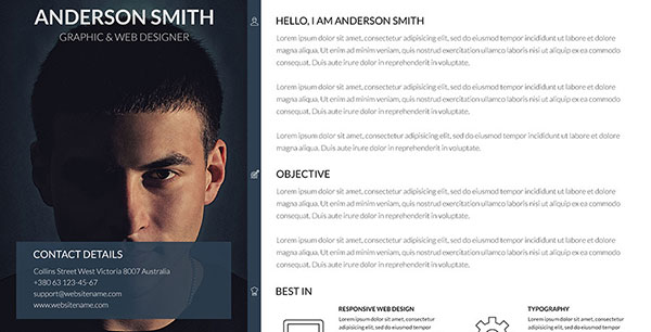 20 Best Personal Resume Website Templates 2017 | Web | Idesignow