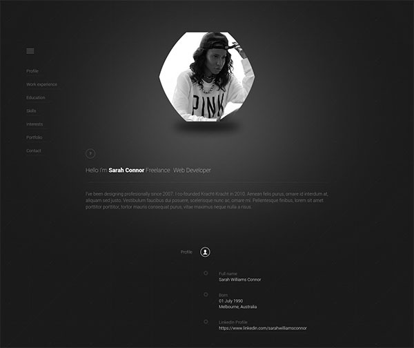 personal web page template