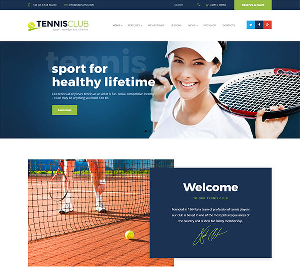 Tennis Club | Sports & Events WordPress Theme