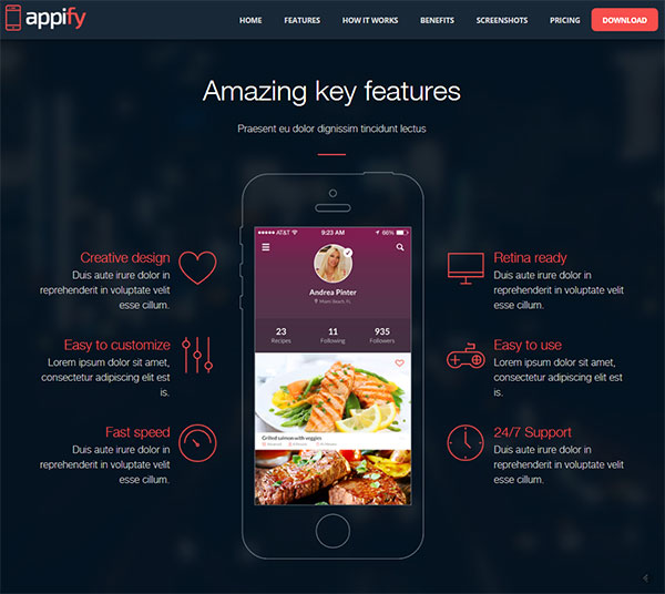 Appify - Multipurpose One Page Mobile App landing page HTML