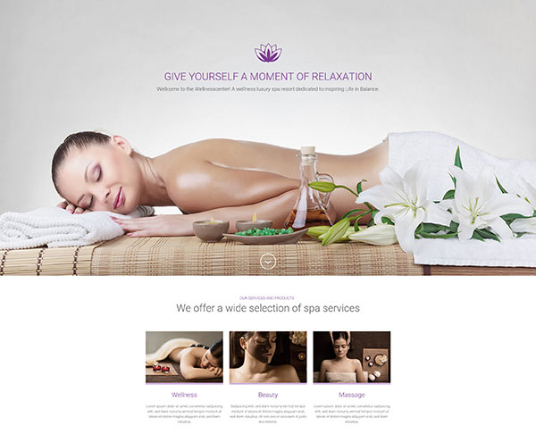 WellnessCenter and Spa Landing Page