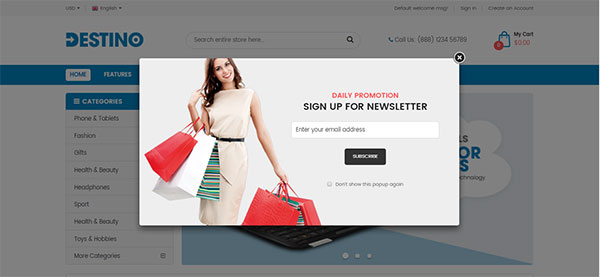 Destino - Premium Responsive Magento 2 Theme with Mobile-Specific Layouts
