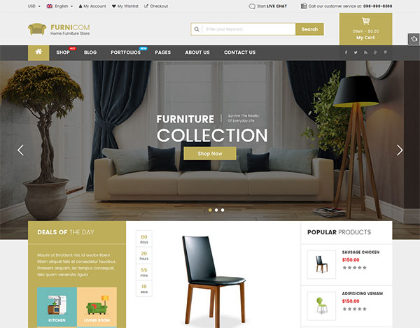 Furnicom - Fastest Furniture Store WooCommerce WordPress Theme