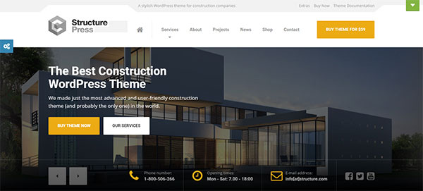StructurePress - Construction and Architecture WordPress Theme
