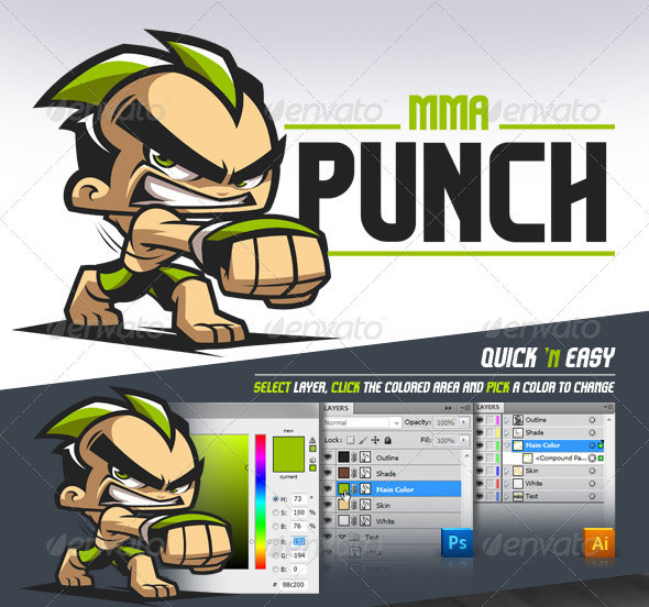 MMA Punch - Cartoon Logo