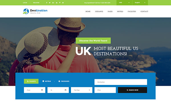 Destination - Hotels, Tours and Travel Booking PSD Template