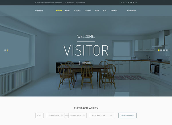 Visitor — Online Hostel/Hotel Booking PSD Template