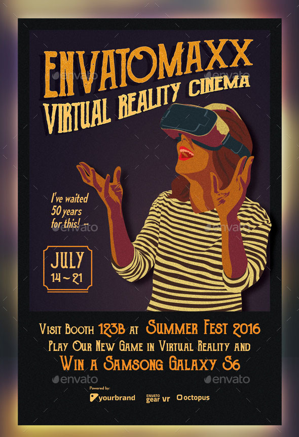 Vintage Virtual Reality Cinema Flyer