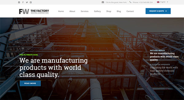 Manufacturing - Factory & Industrial Business WordPress Theme