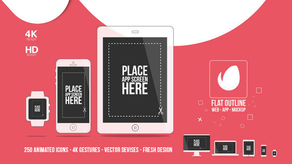 Flat Outline Web App Mock-Up