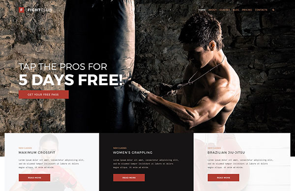 FightClub - Fight & Fitness Club PSD Template