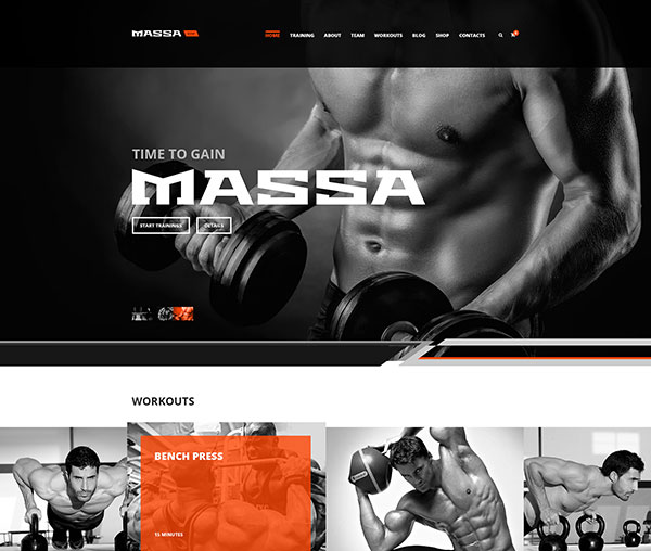 Massa — Fitness, Gym, Sport Blog PSD Template