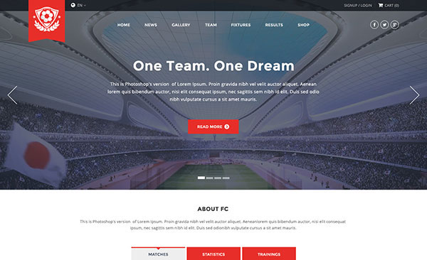 FC - Football Club Template (Soccer PSD)