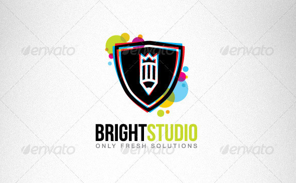 Bright Circles Shield Creative Logo Set